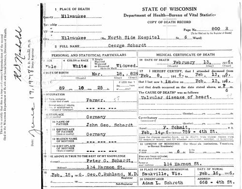 George Schardt I death certificate a